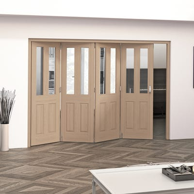 Jeld-Wen Internal Oak Oregon 2L Clear Glazed 4 Door Roomfold 2047 x 2849 x 92mm