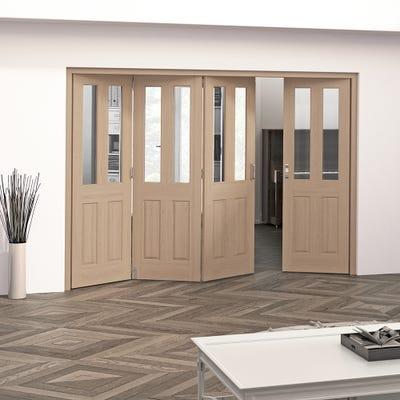 Jeld-Wen Internal Oak Oregon 2L Clear Glazed 4 Door (3+1) Roomfold 2047 x 2849 x 92mm