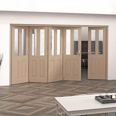 Jeld-Wen Internal Oak Oregon 2L Clear Glazed 5 Door (4+1) Roomfold 2047 x 3538 x 92mm