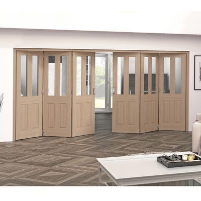 Jeld-Wen Internal Oak Oregon 2L Clear Glazed 6 Door (3+3) Roomfold 2047 x 4227 x 92mm