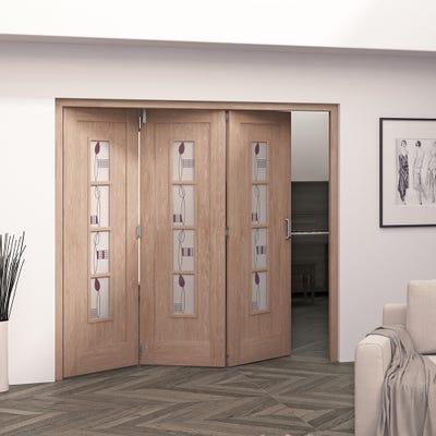 Jeld-Wen Internal Oak Mackintosh 4L Glazed 3 Door Roomfold 2047 x 2157 x 92mm