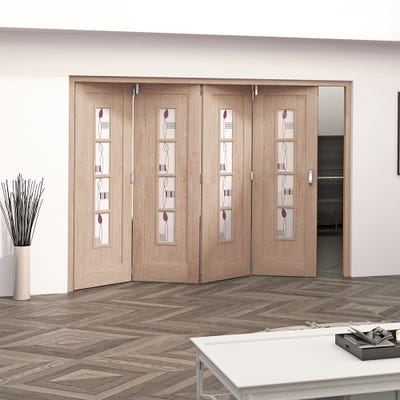 Jeld-Wen Internal Oak Mackintosh 4L Glazed 4 Door Roomfold 2047 x 2849 x 92mm