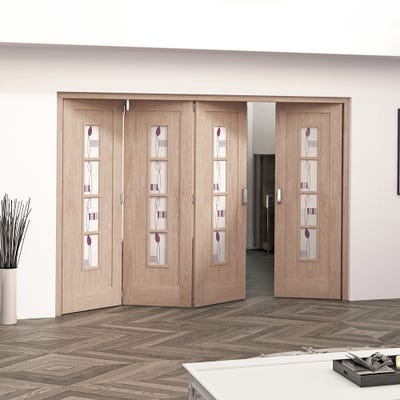 Jeld-Wen Internal Oak Mackintosh 4L Glazed 4 Door (3+1) Roomfold 2047 x 2849 x 92mm