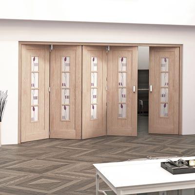 Jeld-Wen Internal Oak Mackintosh 4L Glazed 5 Door (4+1) Roomfold 2047 x 3538 x 92mm