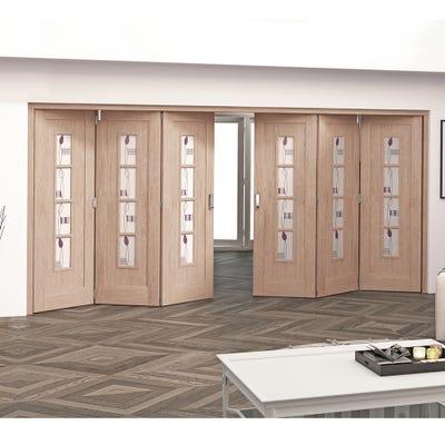 Jeld-Wen Internal Oak Mackintosh 4L Glazed 6 Door (3+3) Roomfold 2047 x 4227 x 92mm