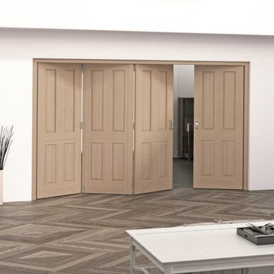 Jeld-Wen Internal Oak Oregon 4 Panel 5 Door (4+1) Roomfold