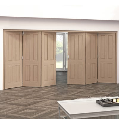 Jeld-Wen Internal Oak Oregon 4 Panel 6 Door (3+3) Roomfold