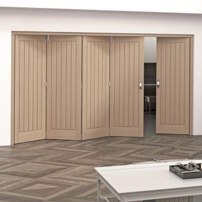 Jeld-Wen Internal Oak Oregon Cottage 5 Panel 5 Door (4+1) Roomfold