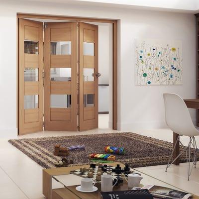Jeld-Wen Internal Oak Oregon Cottage Horizontal Clear Glazed 3 Door Roomfold