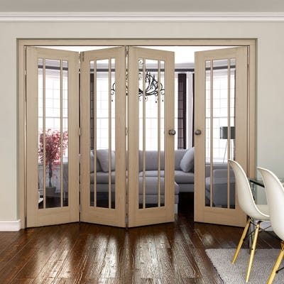 Jeld-Wen Internal Oak Worcester Clear Glazed 4 Door (3+1) Roomfold
