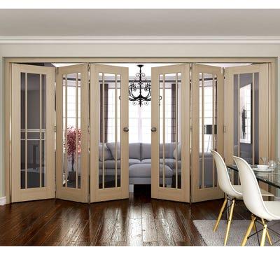 Jeld-Wen Internal Oak Worcester Clear Glazed 6 Door (3+3) Roomfold