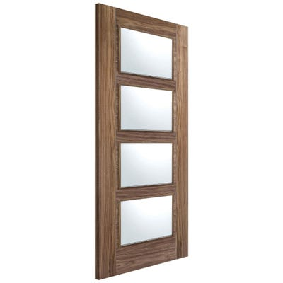 LPD Internal Walnut Vancouver Prefinished 4L Clear Glazed FD30 Fire Door