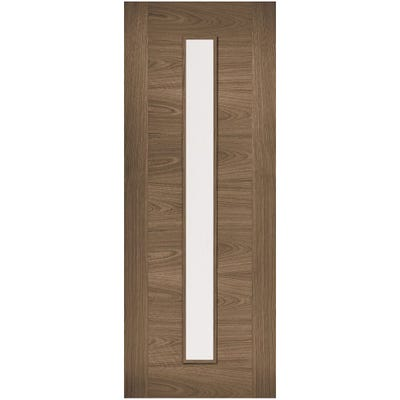 LPD Internal Walnut Sofia Prefinished 1L Clear Glazed Door