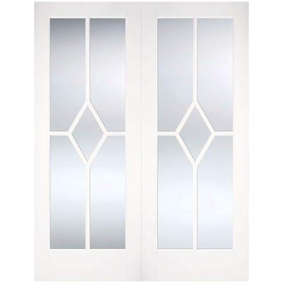 LPD Internal White Primed Reims 5L Clear Glazed Door Pair