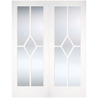 LPD Internal White Primed Reims 5L Clear Glazed Door Pair