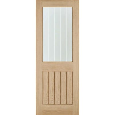 LPD Internal Oak Belize 1L Frosted Glazed Door