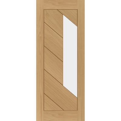 Deanta Internal Oak Torino Prefinished Clear Glazed FD30 Fire Door 1981 x 762 x 44mm