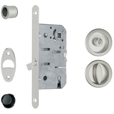 Deanta Pocket Door Satin Chrome Bathroom Lock