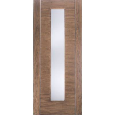 LPD Internal Walnut Alcaraz Prefinished 1L Clear Glazed Door 1981 x 686 x 35mm