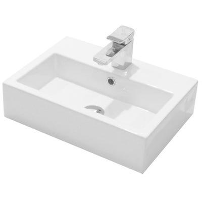 Saneux Matteo 50cm x 37cm 1 Tap Hole Washbasin White