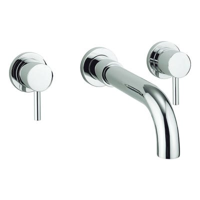 Crosswater Fusion Wall Mounted 3 Hole Bath Mixer Set Chrome