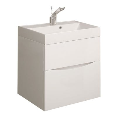 Crosswater Design 50 1 Tap Hole 500mm Vanity Basin White