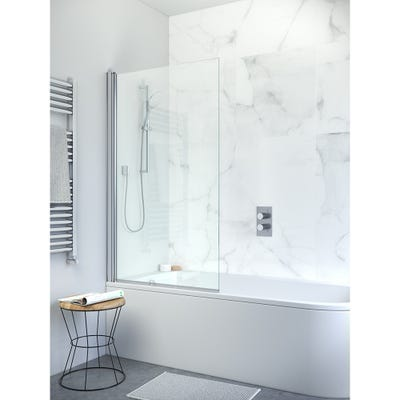 Crosswater Design Single Bath Screen Silver Clear