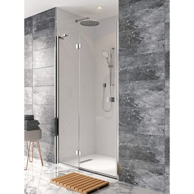 Crosswater Design 1200mm Hinged Shower Door + Panel Silver