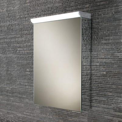 HIB Flux Compact Single Door LED Mirror Cabinet