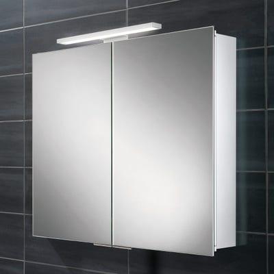 HIB Neutron LED Aluminium Double Door Mirror Cabinet