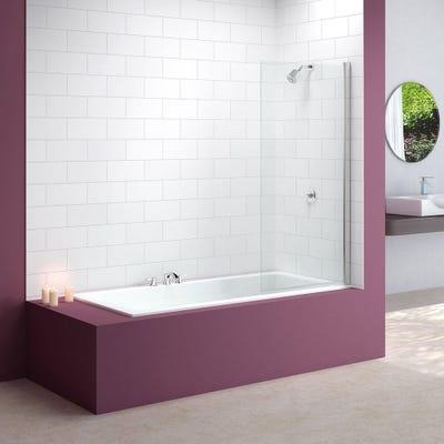 Merlyn 800mm x 1500mm Single Square Bath Screen Silver