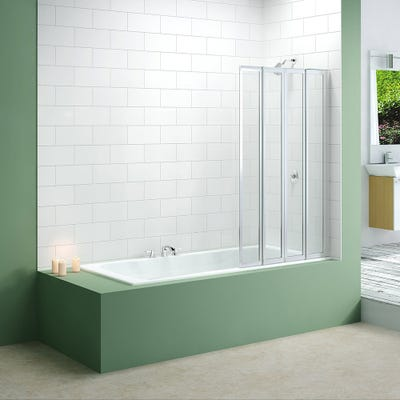 Merlyn 850mm x 1400mm Four Fold Bath Screen Silver