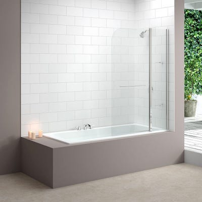 Merlyn 1150mm x 1500mm Two Panel Curved Bath Screen Silver