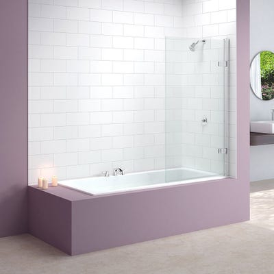 Merlyn 850mm x 1500mm Hinged Square Bath Screen Silver
