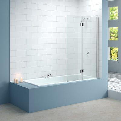 Merlyn 900mm x 1500mm Two Panel Bath Screen Hinged Right Hand Silver