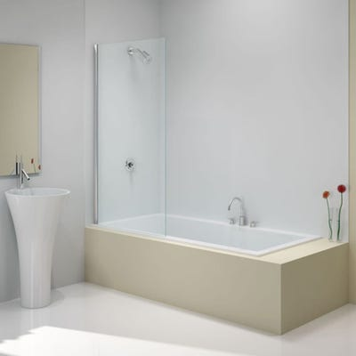 Merlyn 800mm x 1500mm Square Bath Screen Silver
