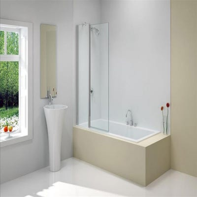 Merlyn 900mm x 1500mm Two Panel Folding Square Bath Screen Silver