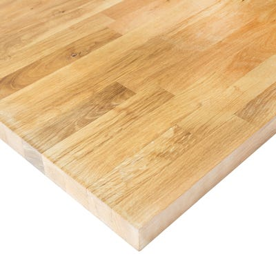 Rustic Oak Unfinished 3000mm x 620mm x 40mm Solid Wood Worktop - 40mm Staves