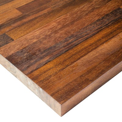 Iroko Unfinished 2000mm x 620mm x 40mm Solid Wood Worktop