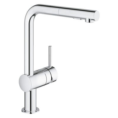 Grohe Minta L-Spout Kitchen Mixer Tap with Pullout Spray