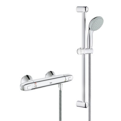 Grohe Grohtherm 1000 Eco Shower Mixer Valve & Tempesta 100 Shower Set Chrome