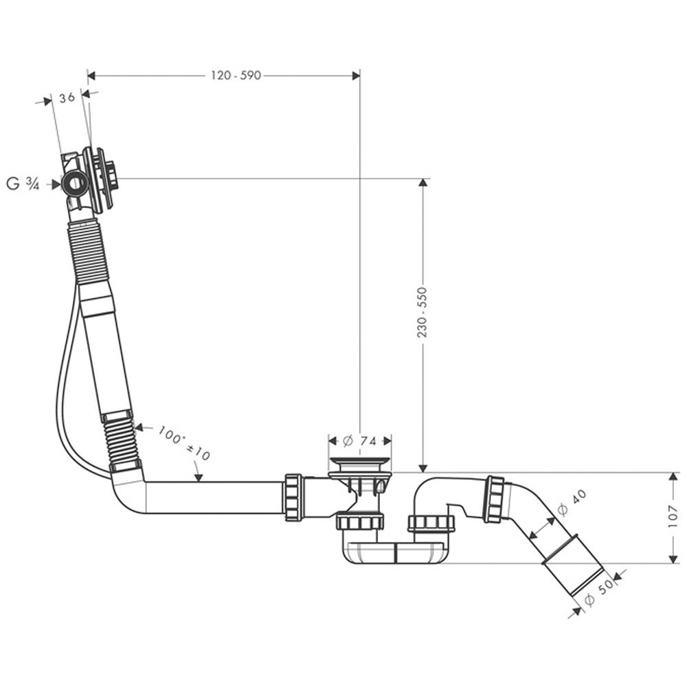 chrome standard bathtub hansgrohe complete set for Exafill S bath filler with waste and overflow set