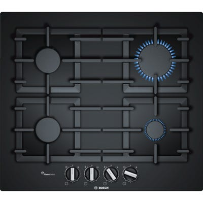 Bosch PPP6A6B90 Serie 6 80cm 4 Burner Gas Black Glass