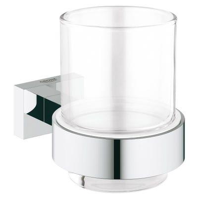 Grohe Essentials Cube Glass & Holder Chrome