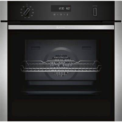 Neff B2ACH7HN0B N50 Built-In Single Pyrolytic Oven Black With Steel Trim
