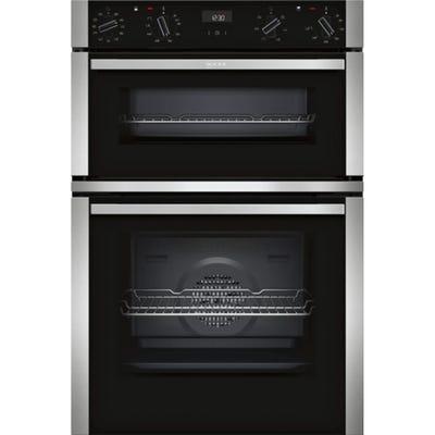 Neff U1ACI5HN0B N50 Built-In Double Oven Black With Steel Trim
