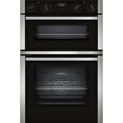Neff U1ACE5HN0B N50 Built-In Double Oven Black With Steel Trim
