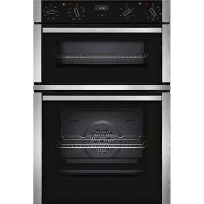 Neff U1ACE2HN0B N50 Built-In Double Oven Black With Steel Trim