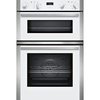 Neff U1ACE2HW0B N50 Built-In Double Oven White With Steel Trim
