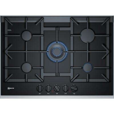 Neff T27TA69N0 N90 75cm 5 Burner Gas Hob Ceramic Black Glass